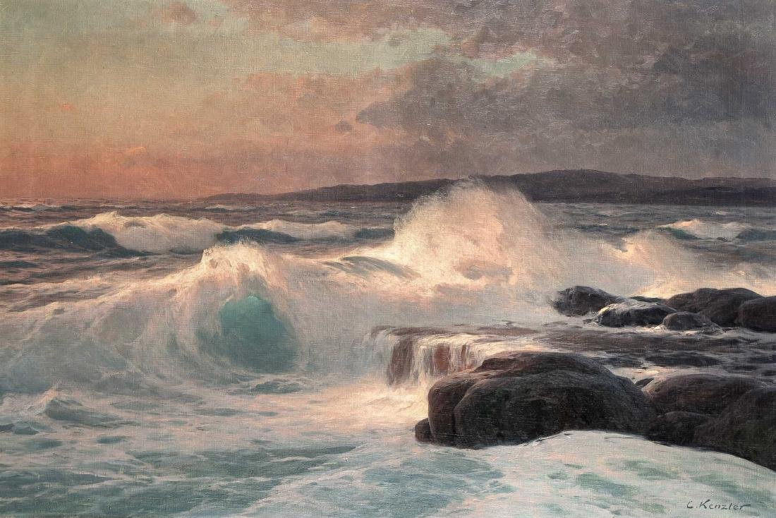 Carl Kenzler (1872-1947), sea surf in the evening