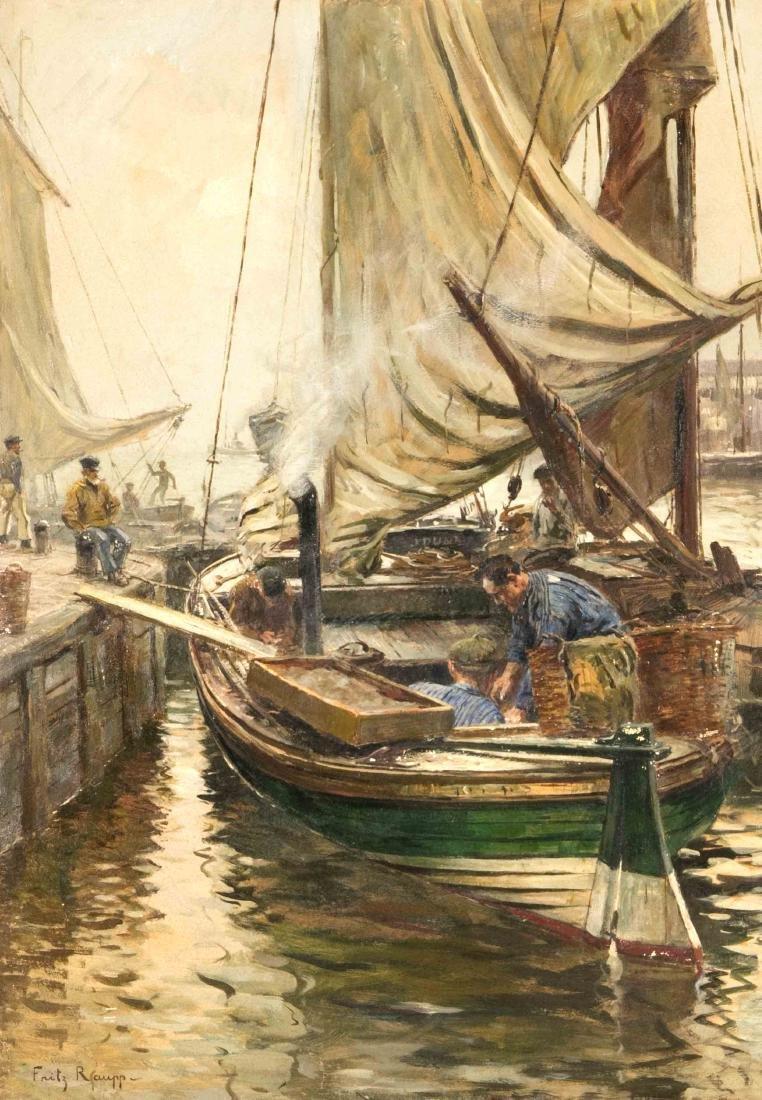 Fritz Raupp (1871-1949), Fischerboot an der Hafenmole,
