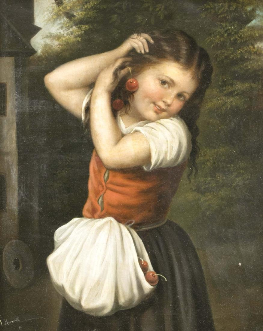 E. Herman, painter of the 19th century, young girl puts