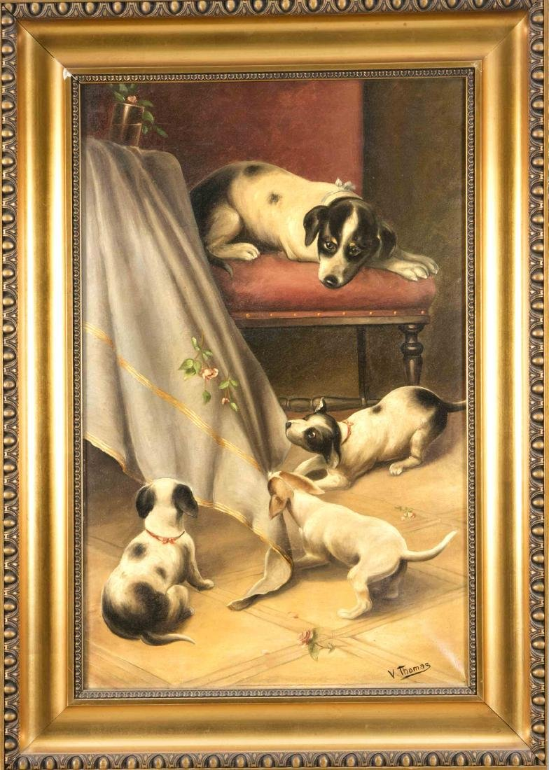 V. Thomas, painter around 1920, three dog puppies