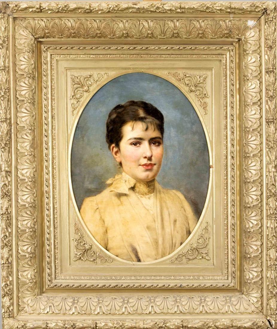 Anton Ebert (1845-1896), Portrait einer jungen Dame im