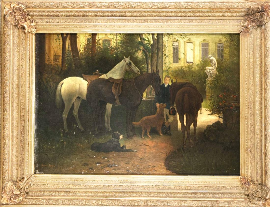 Franz Adam (1815-1886), bereit zum Ausritt, Öl/Lw.,