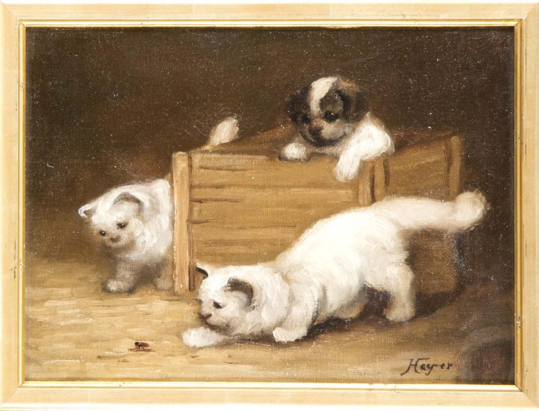 Sign. Hayer, Tiermaler Ende 20. Jh., zwei Katzen nähern