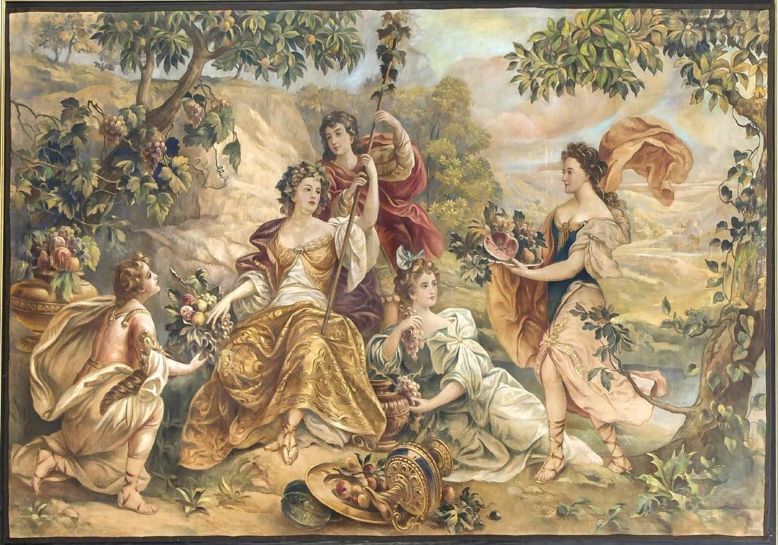 Monumentales Gemälde im Stil eines Gobelins, um 1900,