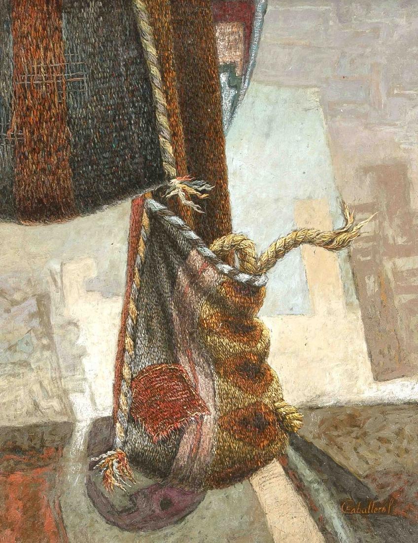 Caballero, 2. H. 20. Jh., Komposition mit Textilbeutel,