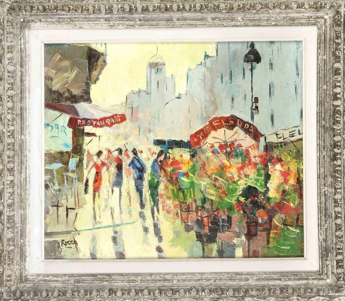 J. Rocca, Maler um 1960, Pariser Straßenszene mit