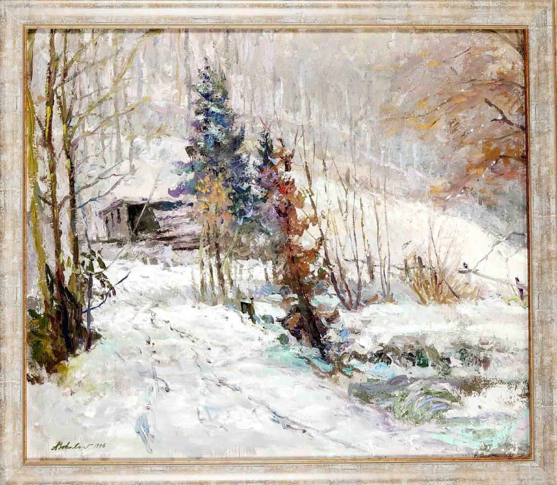 A. Sokolov, contemporary Russian painter, snowy winter