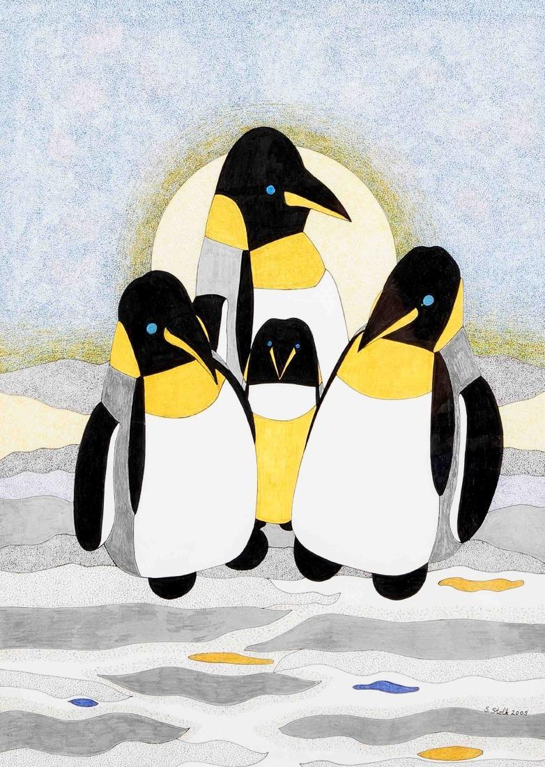 S. Stolk, 21. Jh., Pinguine, Farbstiftzeichnung, u. re.