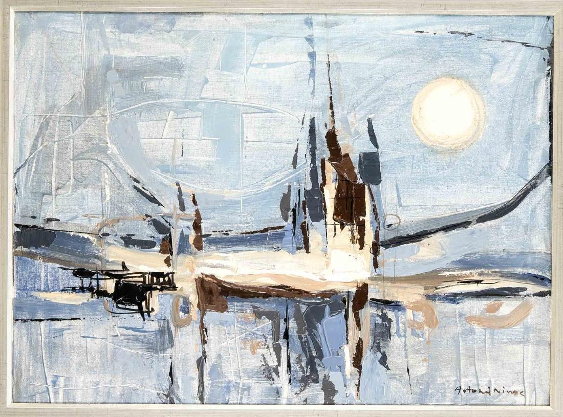 """Antonis Ninos (1912-1996), griechischer Maler, """"La Lune"""