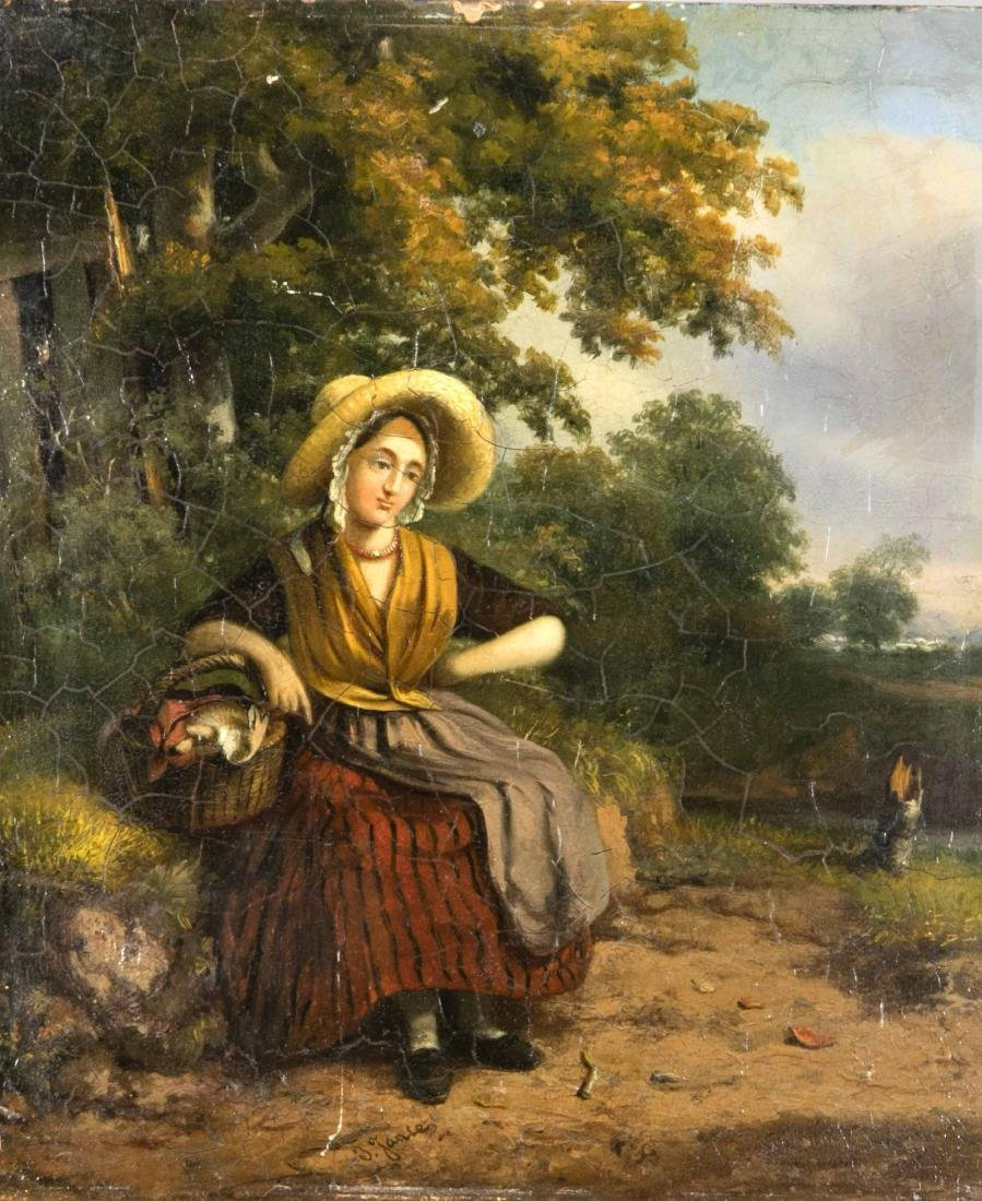 J. Jansen, painter of the 19th century, young woman in