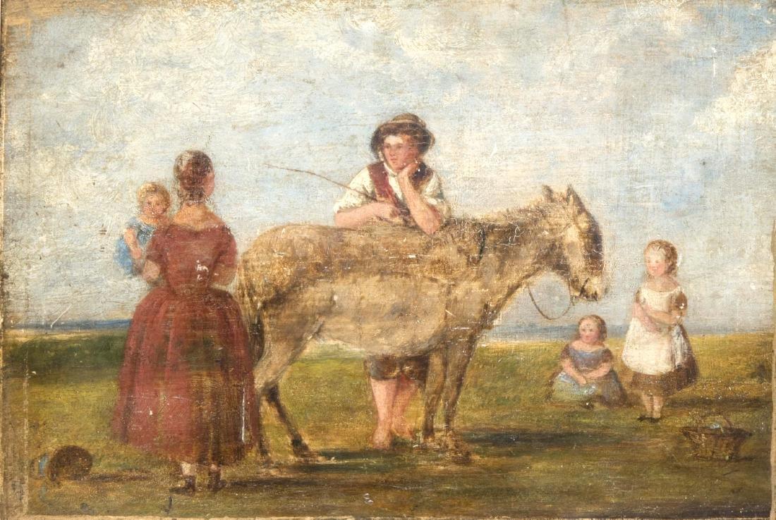 Biedermeiermaler um 1820, junge Familie auf einer Weide