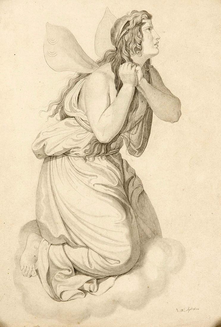 Monogramist around 1850, mourning elf kneeling on a