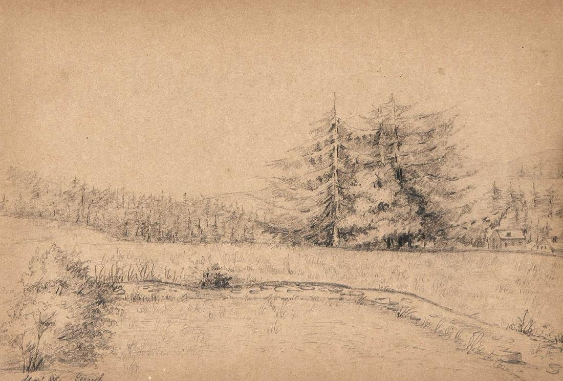 Convolute of 13 drawings of the 19th century, pencil
