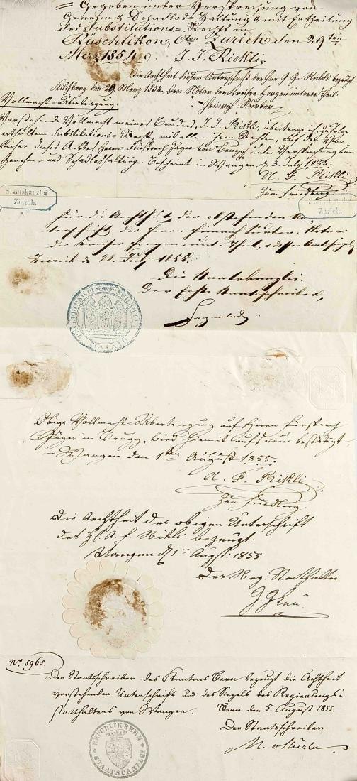 Konvolut von ca. 24 Dokumenten und Autographen des 18. - 4