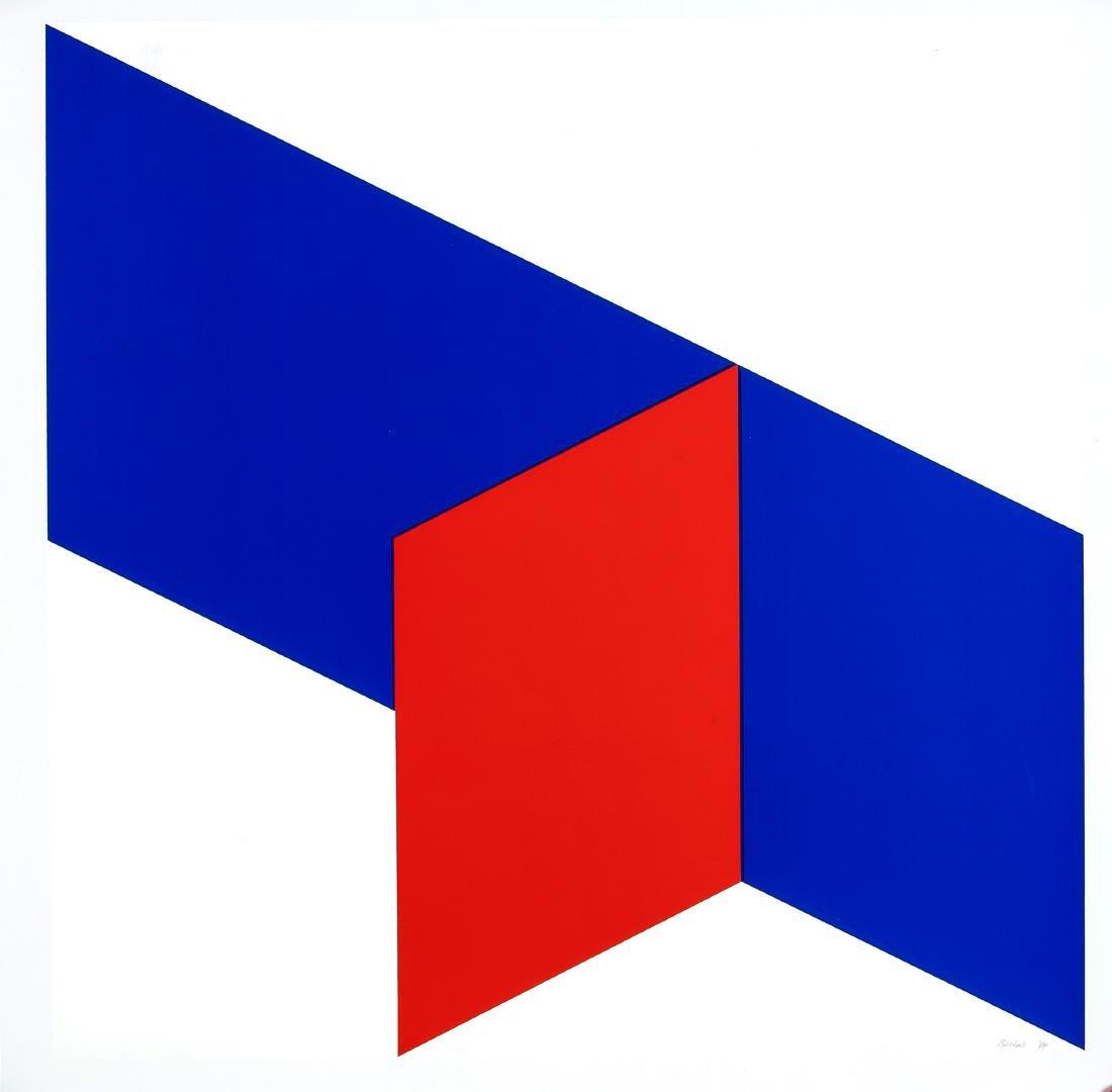 Bob Bonies (*1937), geometrische Komposition in Blau