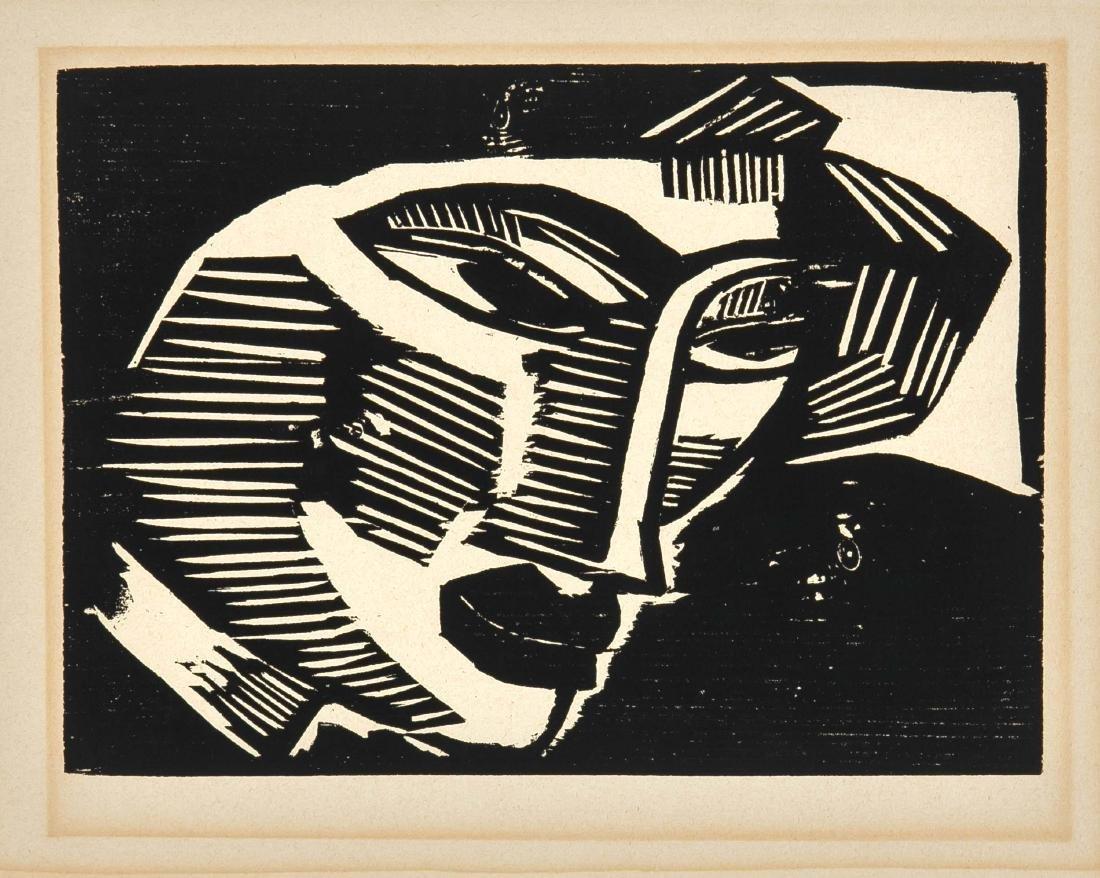 Karl Schmidt-Rottluff (1884-1976), ''Head'', woodcut on