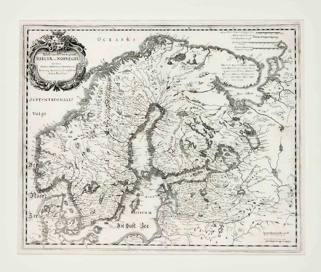 Convolute of three historical maps of Scandinavia,
