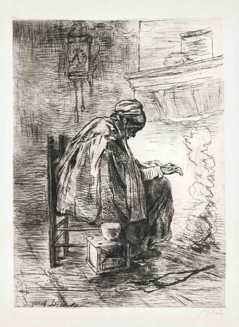 Jozef Israels (1824-1911), ''The Hearth'', drypoint