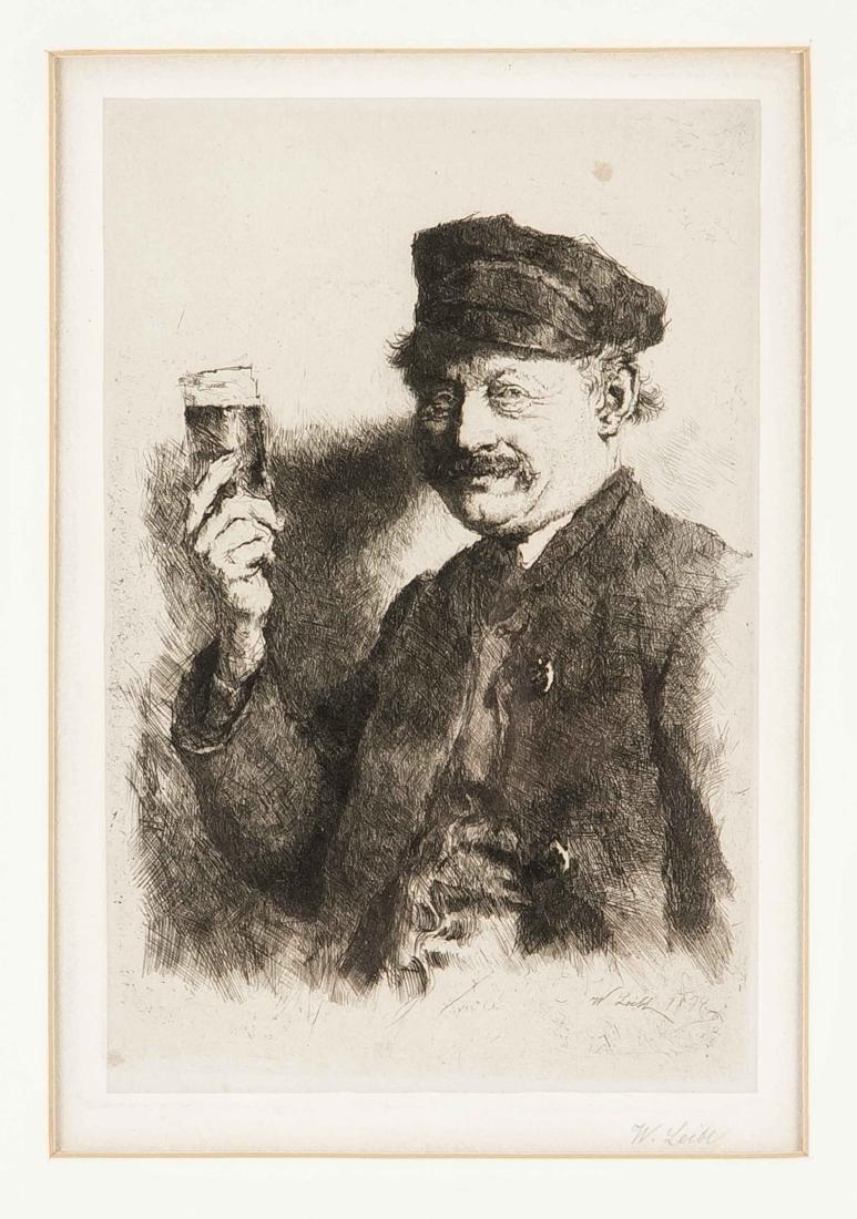 Wilhelm Leibl (1844-1900), Der Trinker (Bildnis des