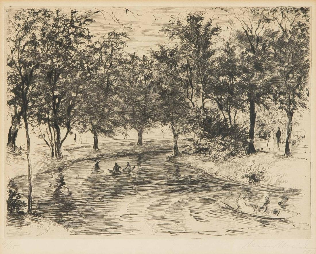 Hans Meid (1883-1957), river with rowboats surrounded
