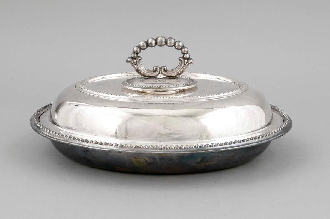 Oval warming bowl, England, 20th century, plated,