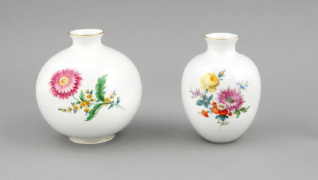 Two vases, Meissen, after 1950, a ball vase, 2nd