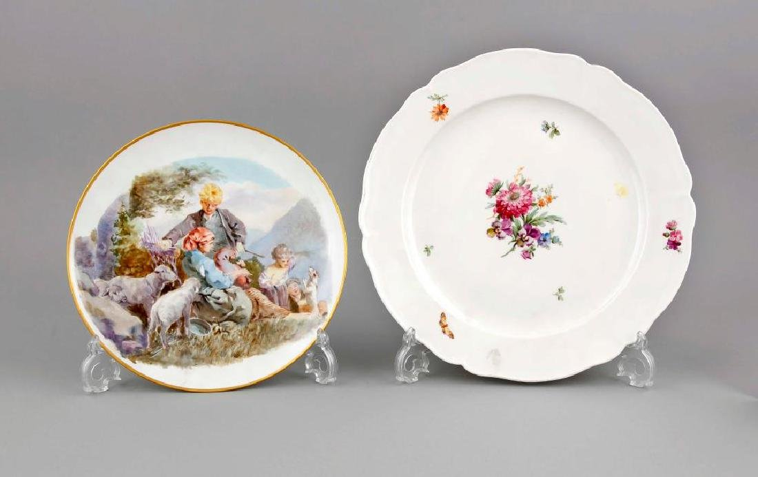 Two plates, KPM Berlin, a large plate, mark before