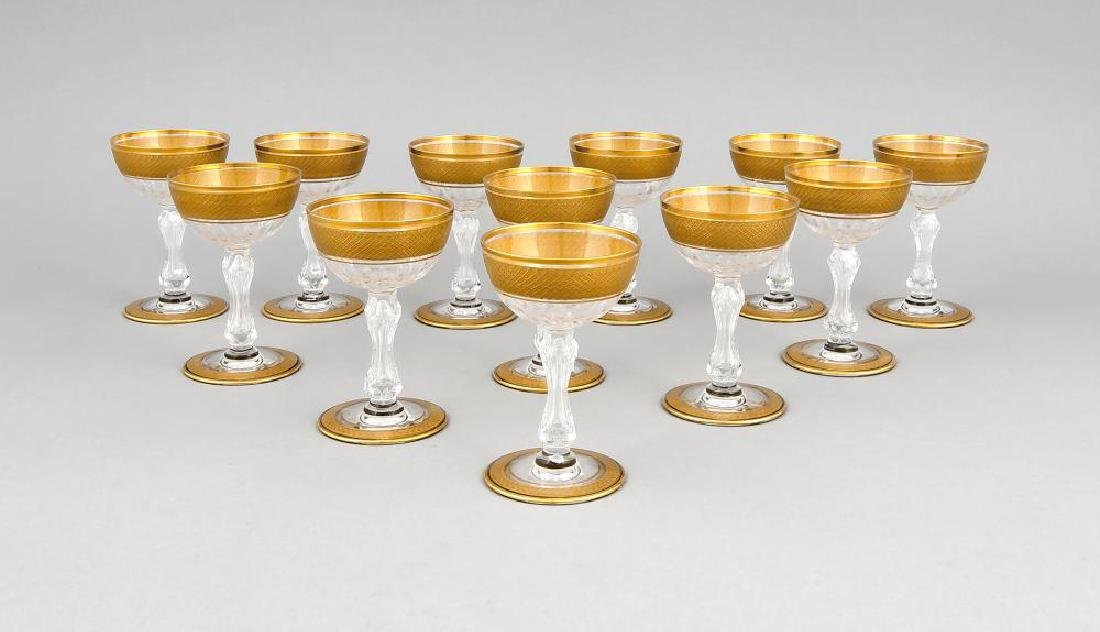 Twelve presumable French port wine glasses, 20th c.,