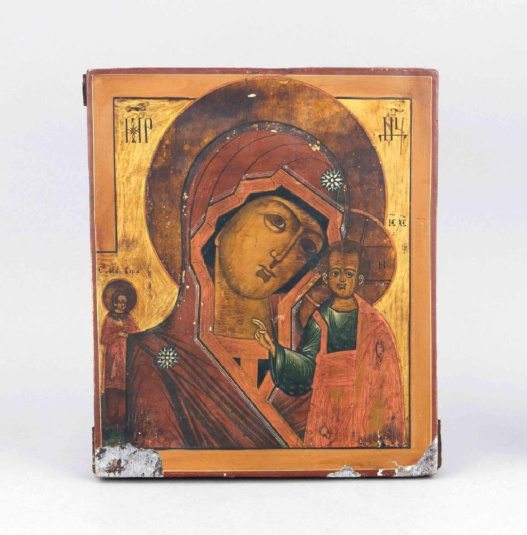 A Russian 19th-century icon Madonna Kasanskaja with St.