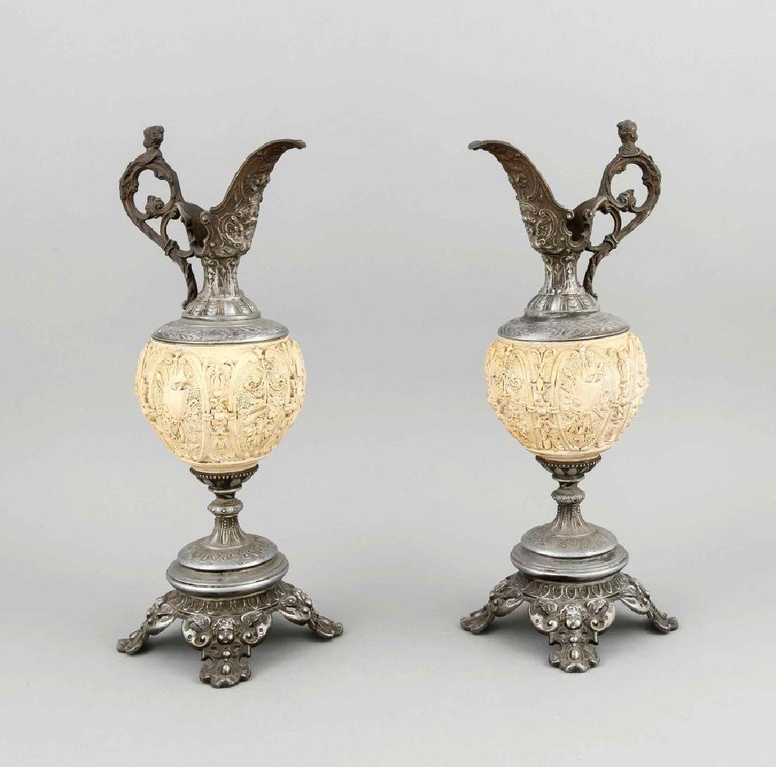 A pair of decorative Historism vases around 1880,