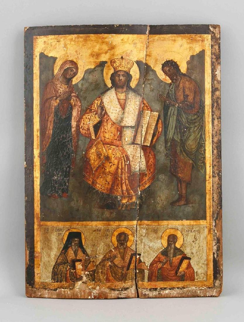 A Russian 18th/19th-century Deesis icon, tempera and
