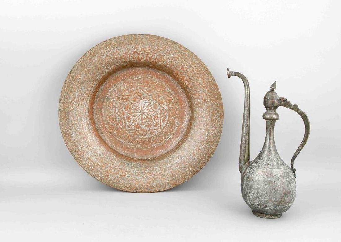 Middle-Eastern jug and bowl, 19th c., copper plated,