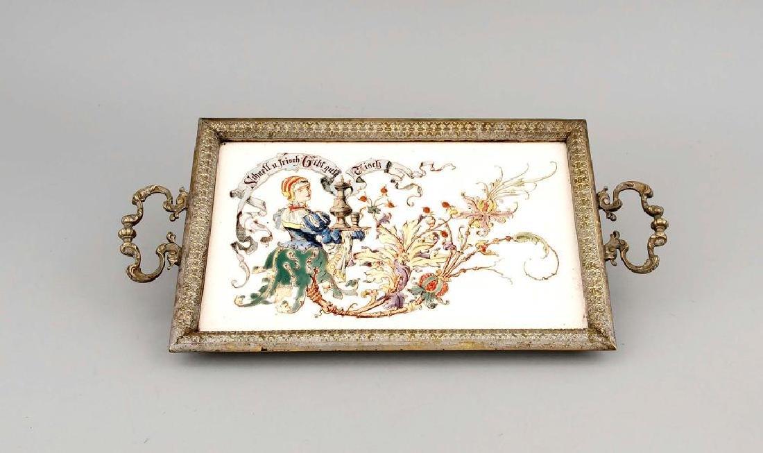 Jugendstil Keramiktablett, Deutschland, um 1900,