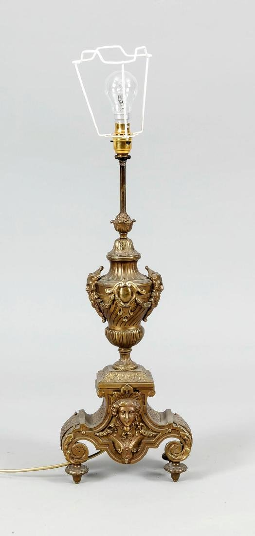 Als Lampe montierter Kaminaufsatz, Bronze, wohl