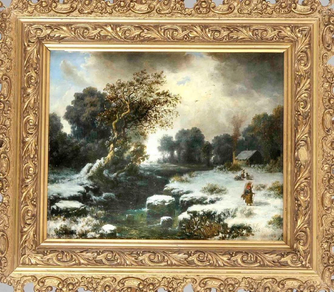 August Seidel (1820-1904) (attrib.), Snowy winter