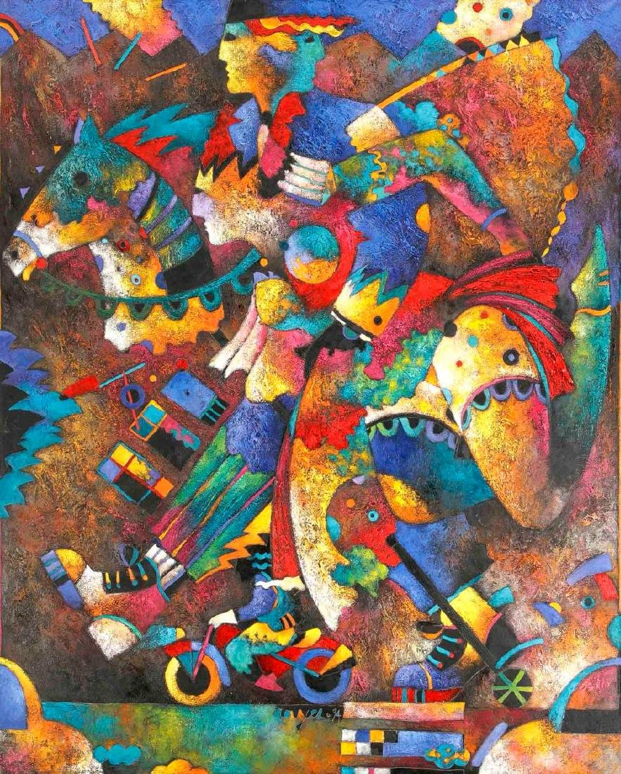 Sign. Rouyer, French contemporary painter, playful,