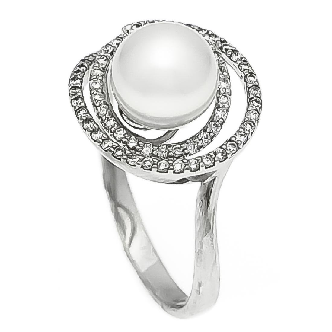 Akoya-Brillant-Ring WG 585/000 mit einer Akoya-Perle