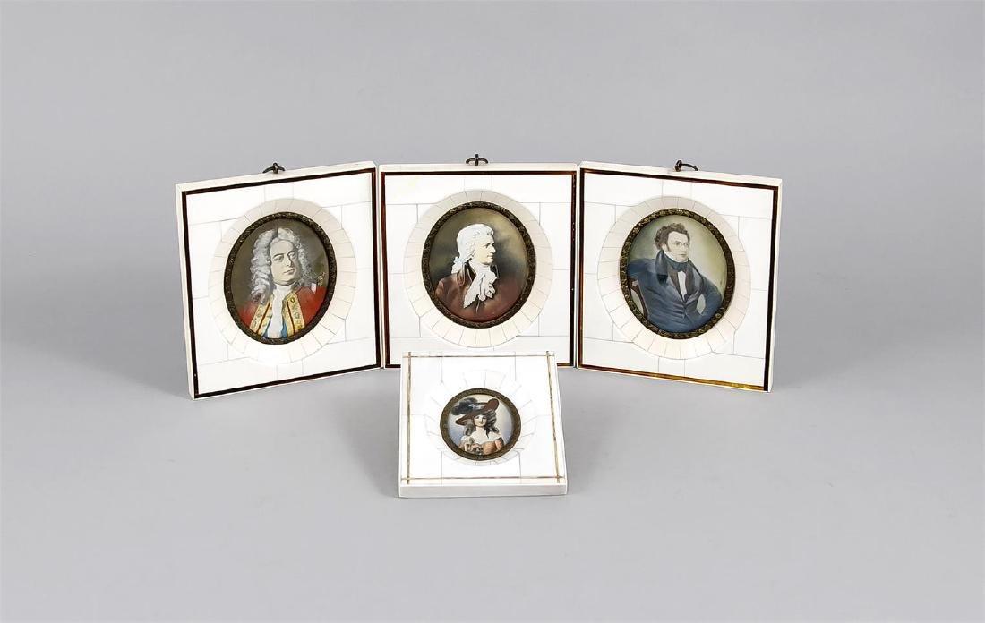 Konvolut von 4 Miniaturen, 20. Jh., ovale