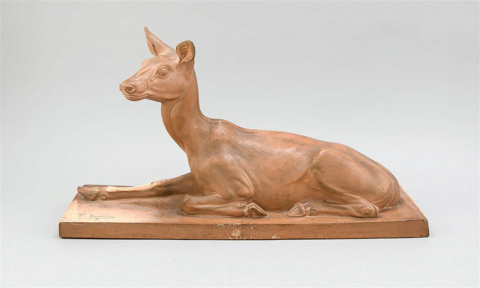 Art Nouveau Figure, Lying Deer, c. 1930, Santiago