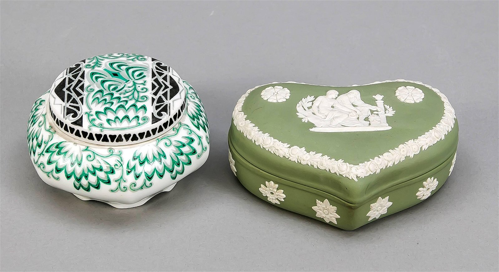 Two lidded boxes, Art Deco lid