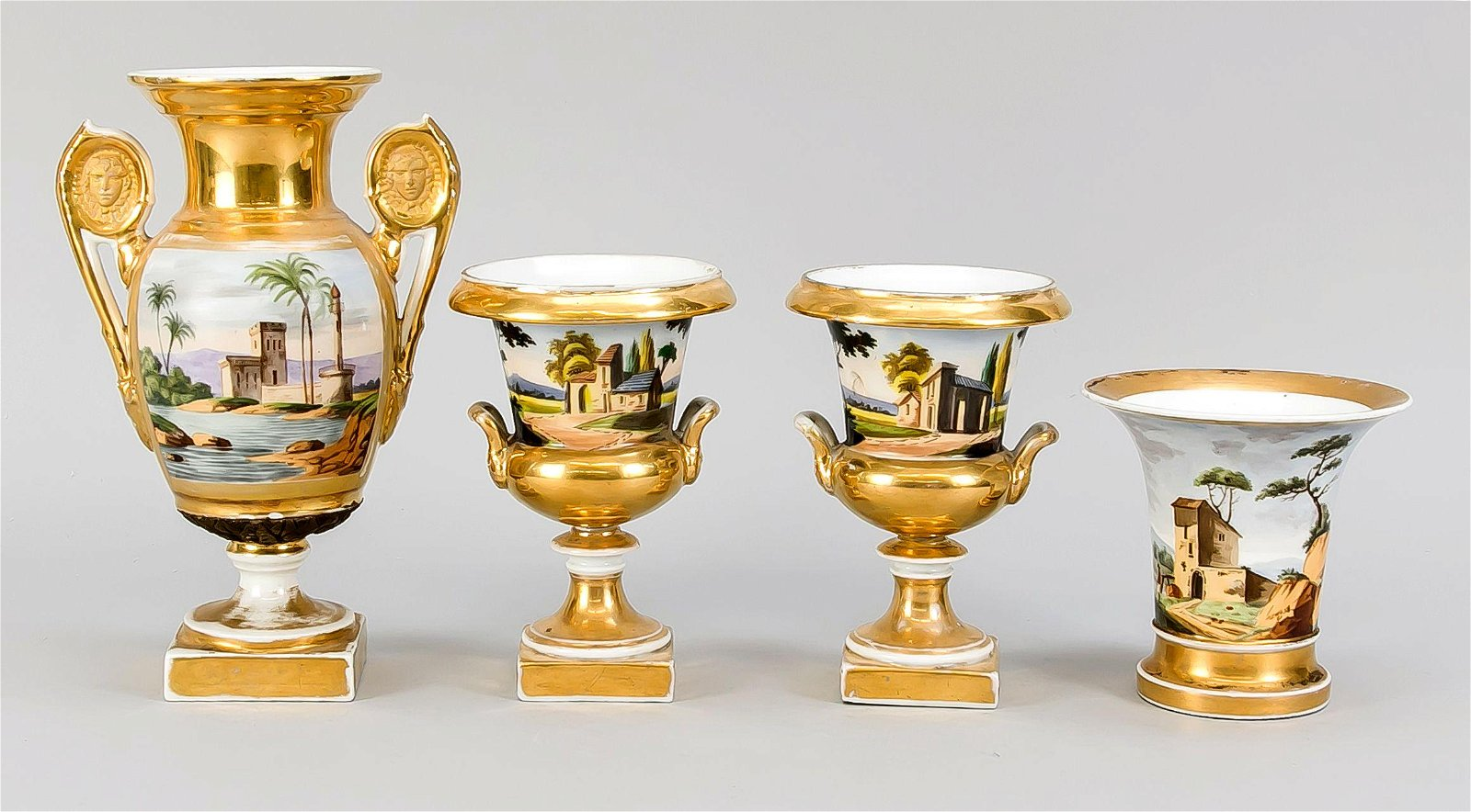 Four small vases, France,