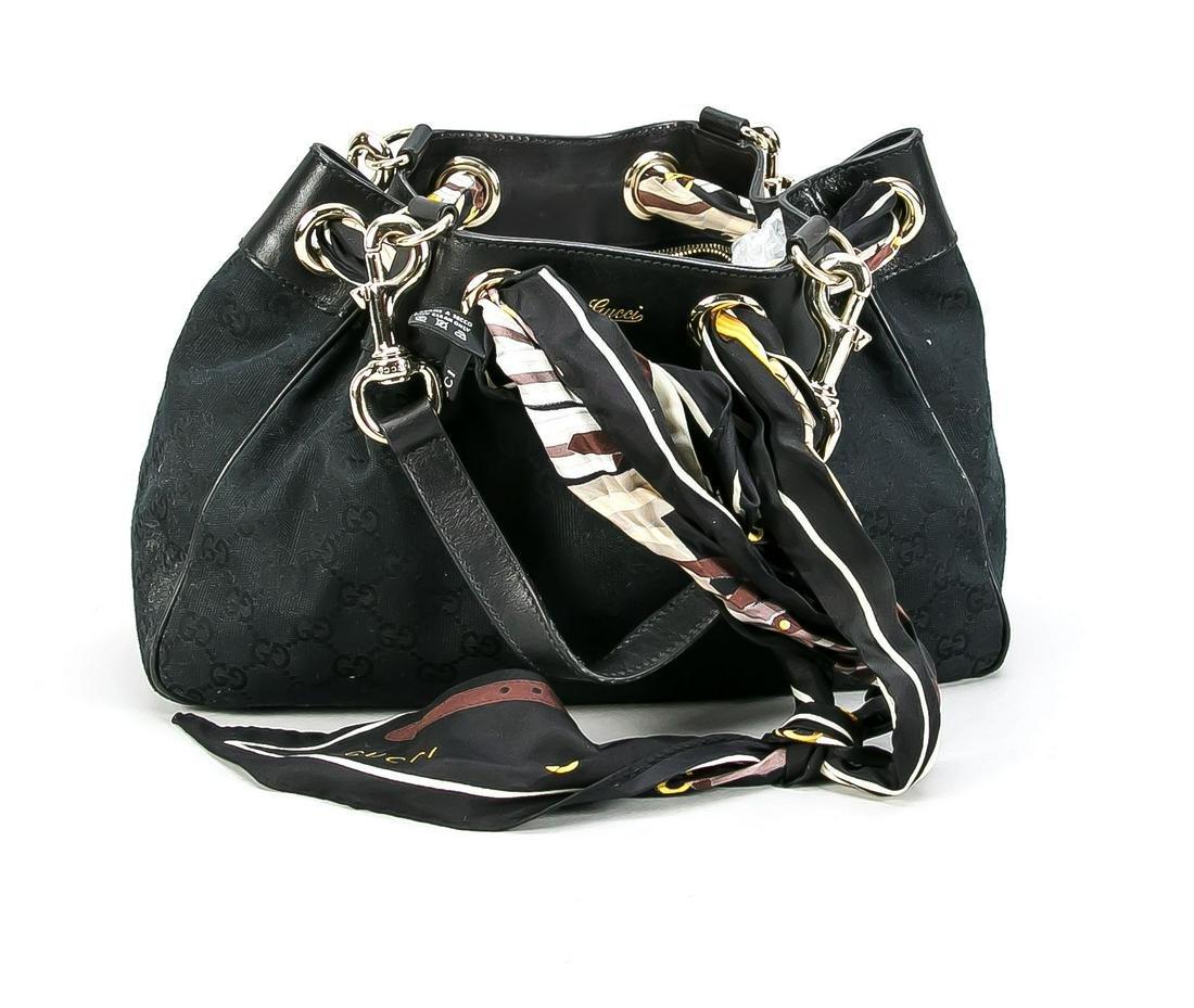 Gucci handbag, black fabric wi