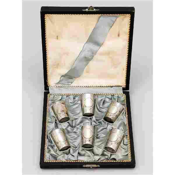 Set of six vodka cups, marked