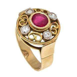 Ruby old European cut diamond ring