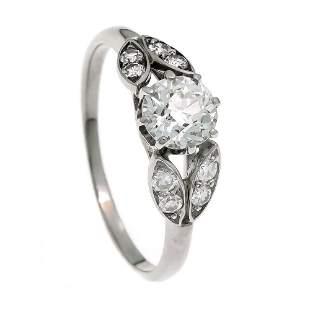 Old European cut diamond ring plat