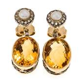 Citrine and brilliant ear studs GG