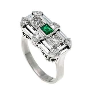 Art Deco emerald old European cut