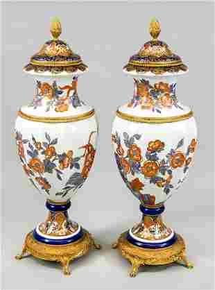 Pair of imposing lidded vases, Limo