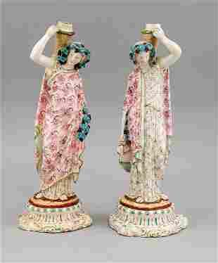 Pair of figural candlesticks, w. En