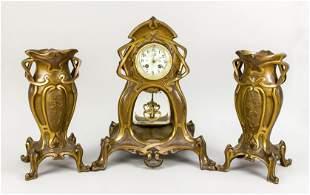 3-piece art nouveau bronze pendulum